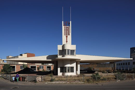 The Fiat Tagliero service station in Asmara, designed by Giuseppe Pettazzi and completed in 1938.