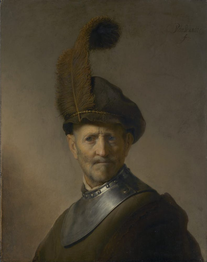 An Old Man in Military Costume, (c. 1630–31), Rembrandt van Rijn, J. Paul Getty Museum, Los Angeles
