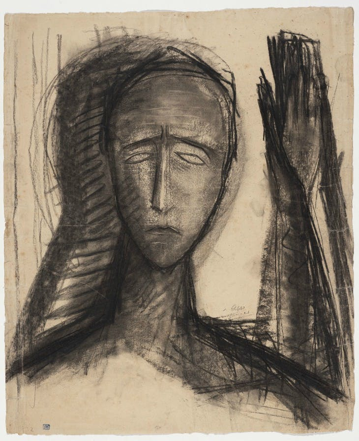 Untitled (Head with raised left hand) (1921), Jussuf Abbo.