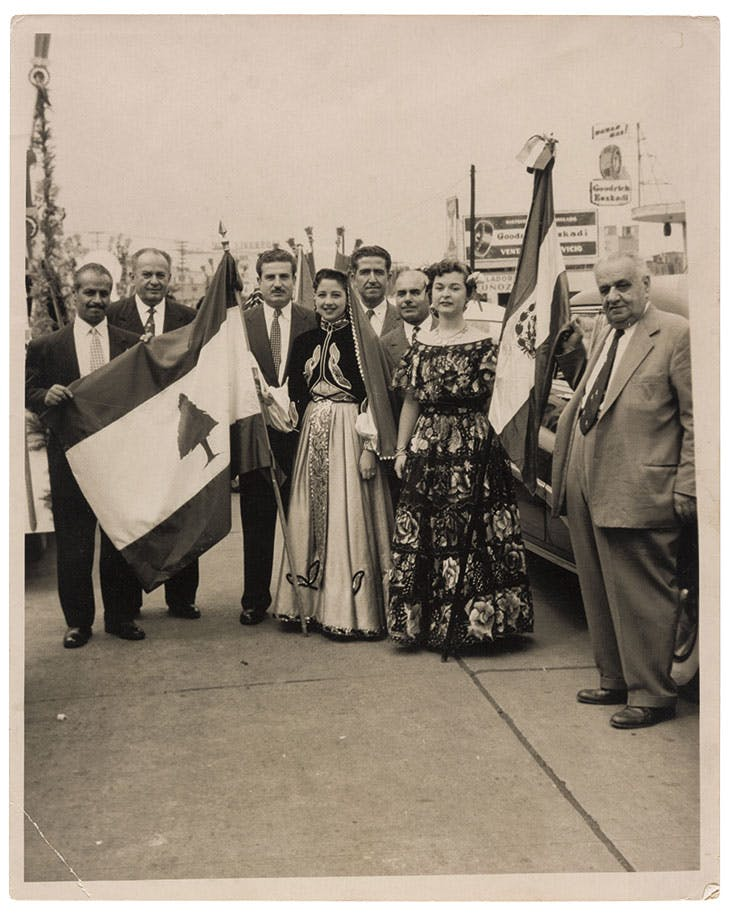 A celebration of Lebanon's Independence Day in Mexico, 1948/50, gelatin silver print, Graciela Madrigal de Bulhosen Collection at the Arab Image Foundation, Beirut.