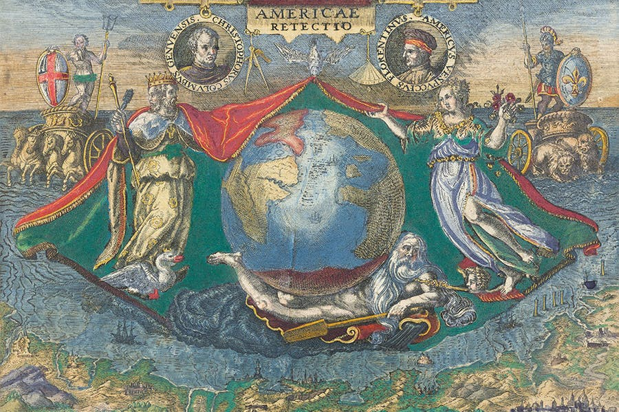Epigram of a globe showing the Americas, with vignettes of Christopher Columbus and Amerigo Vespucci, from America, vol. IV.