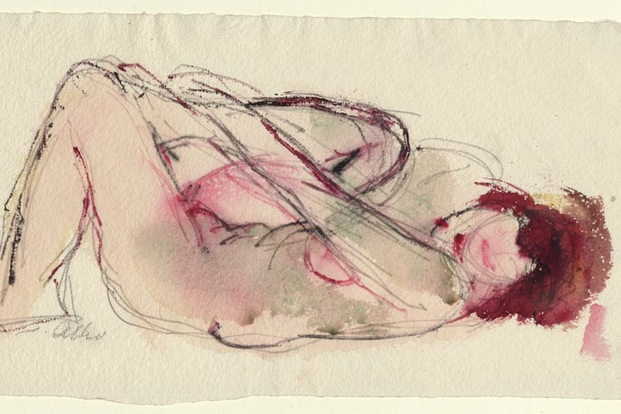 Untitled (Lying female nude) (detail; undated), Jussuf Abbo.