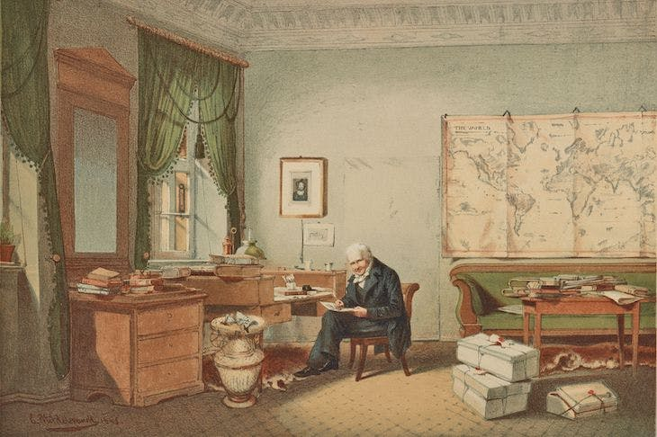 Alexander von Humboldt in his study (1847), colour lithograph after Eduard Hildebrandt.