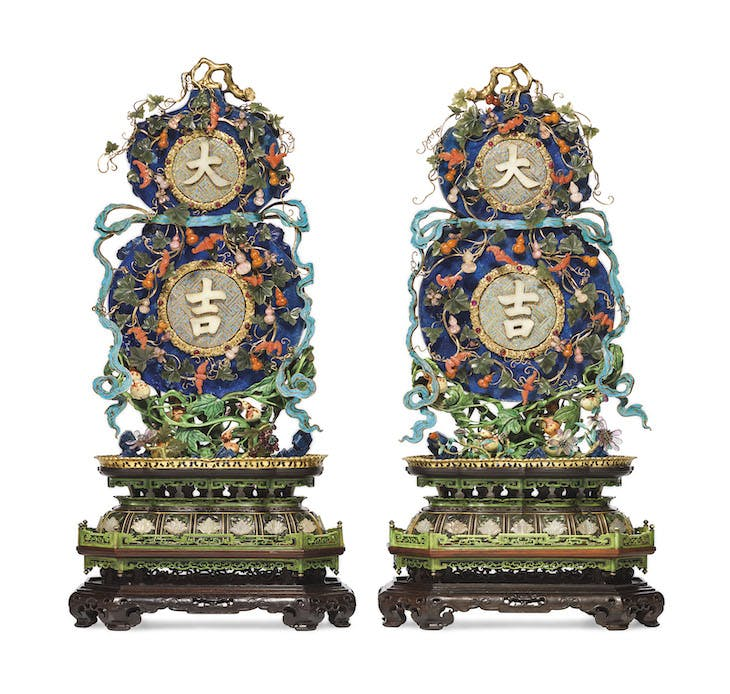 A pair of imperial embellished 'Da Ji' double-gourd-form plaques, Qinalong Period (1736–95), China.