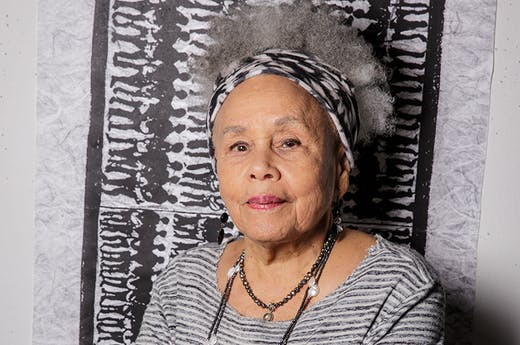 Betye Saar (b. 1926), photographed in her studio in Los Angeles in 2019.