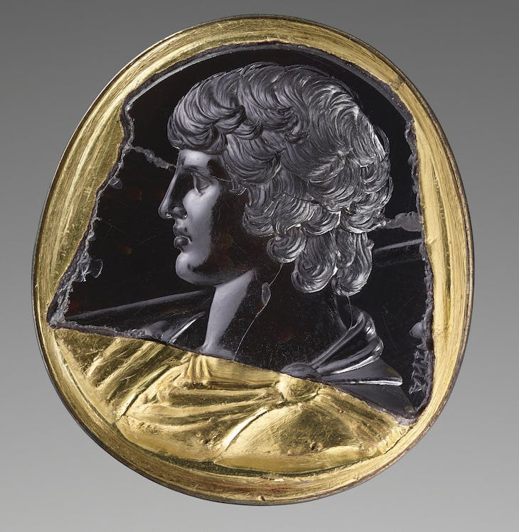 Intaglio with bust of Antinous (131–38 AD), Italy or Greece.