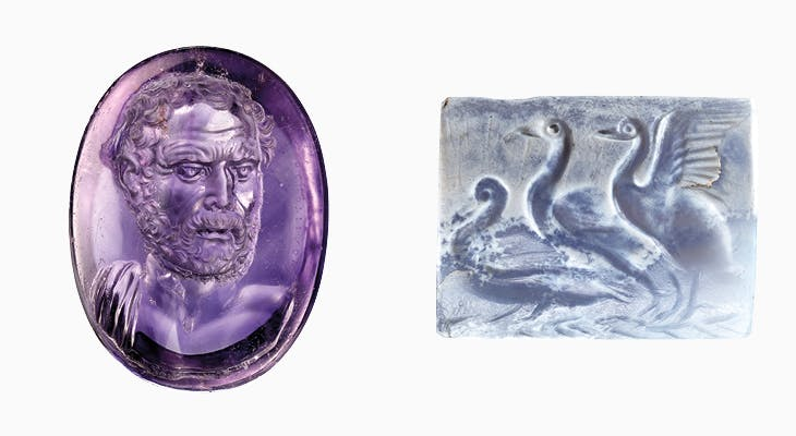 Left: Intaglio with portrait bust of Domesthenes (c. 25 BC), signed by Dioskourides. Right: Engraved tabloid with three water birds (1600–1500 BC), Minoan, Crete