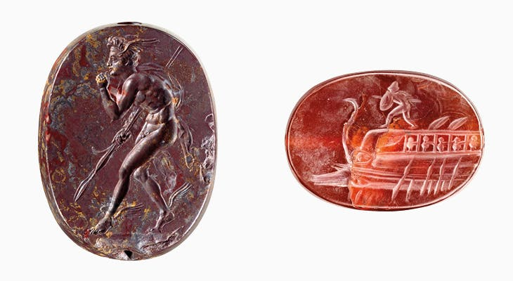 Left: Engraved scaraboid with Perseus (400–350 BC), Greece. Right: Engraved scaraboid with Protesilaos on the prow of a ship (400–350 BC), Greece