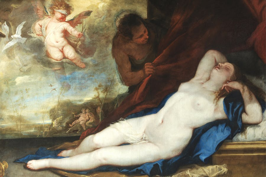 Sleeping Venus with Cupid and Satyr (detail; c. 1670), Luca Giordano
