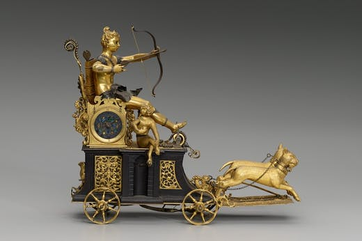 Automaton clock in the form of Diana on her chariot (c. 1610), South German, probably Aubsburg.