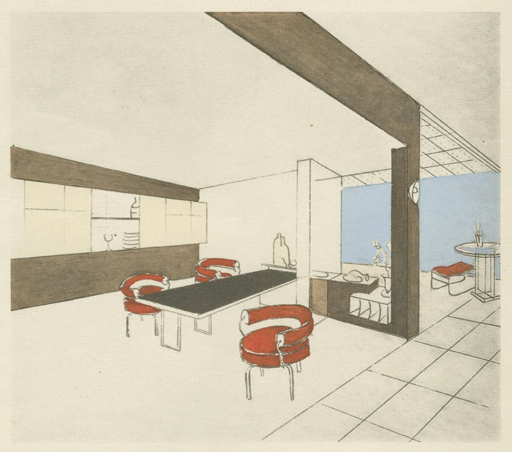 Perspective drawing of the studio in Place Saint-Sulpice, designed by Charlotte Perriand and published in L'Art international d'aujourd'hui (vol. 6, Intérieurs) in 1929.