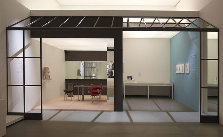 Reconstruction of the studio in Place Saint-Suplice, designed by Charlotte Perriand in 1927–28. Installation view at Fondation Louis Vuitton, Paris, 2019.