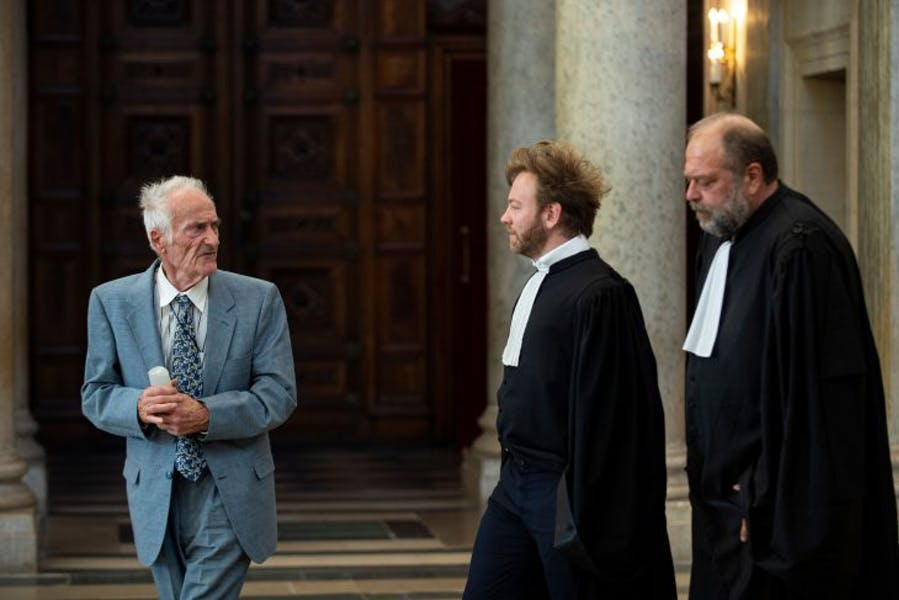 Pierre Le Guennec (left) leaving the courthouse in Lyon with his lawyers on September 24, 2019. Photo: Romain Lafabrègue/AFP via Getty Images