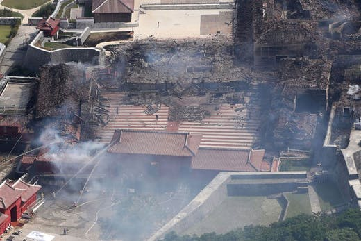 The remains of Shuri Castle in Okinawa, Japan, after the fire on 31 October 2019.