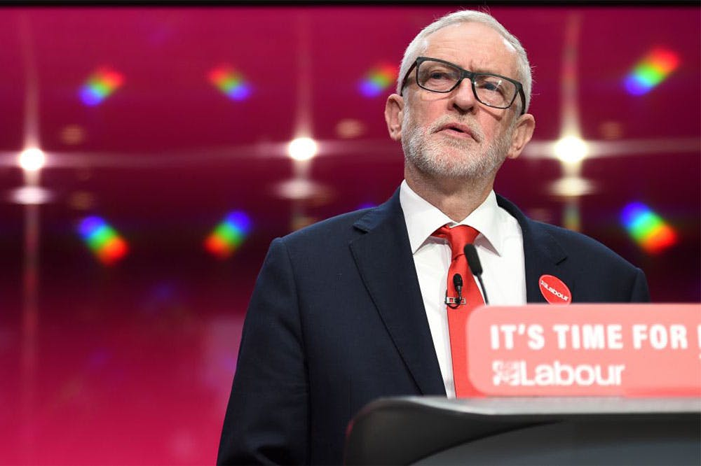 Jeremy Corbyn at the launch of the Labour party election manifesto in Birmingham on 21 November 2019.