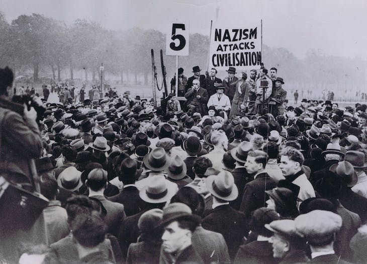 Sylvia Pankhurst at a demo in 1935.