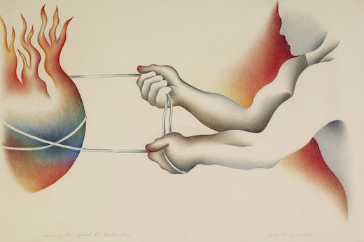 Driving the World to Destruction (1983), from the Powerplay series (1983–87), Judy Chicago.