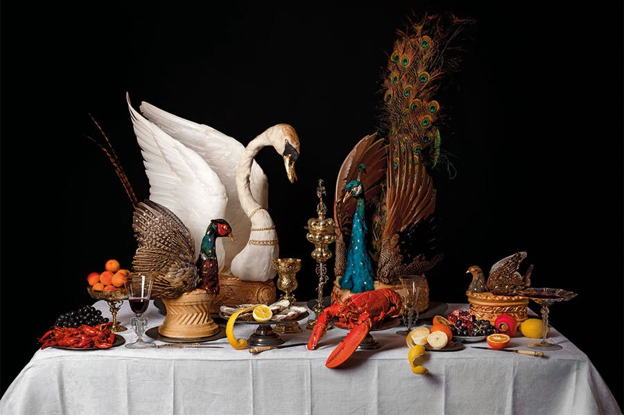 Recreation of a baroque feasting table in c. 1650, conceived and made by Ivan Day with taxidermy by David Astley and seafood and fruit models by Tony Barton.