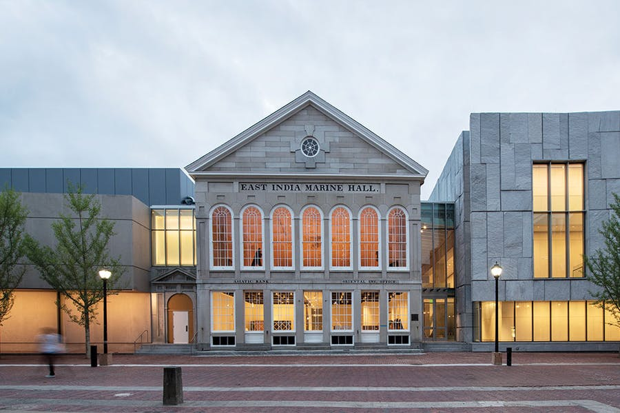 The Peabody Essex Museum in 2019 with its new wing designed by Ennead Architects on the right