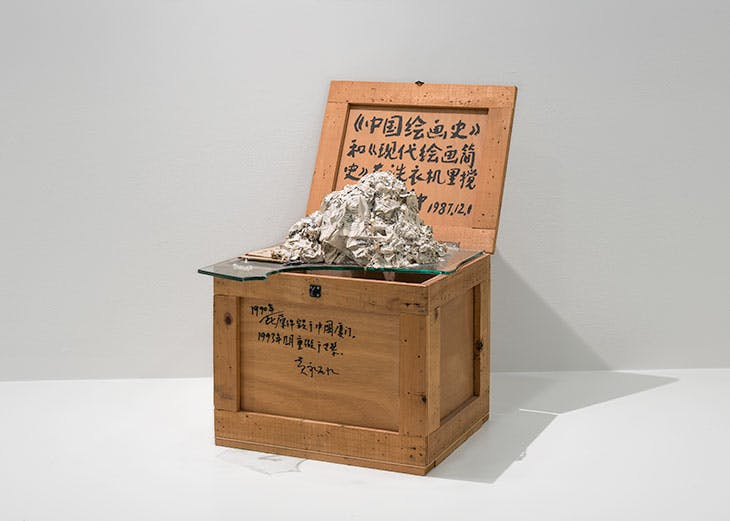 The History of Chinese Painting and A Concise History of Modern Painting Washed in a Washing Machine for Two Minutes (1987), Huang Yong Ping. Installation view, 'Art and China after 1989: Theater of the World', Solomon R. Guggenheim Museum, New York, 2017.