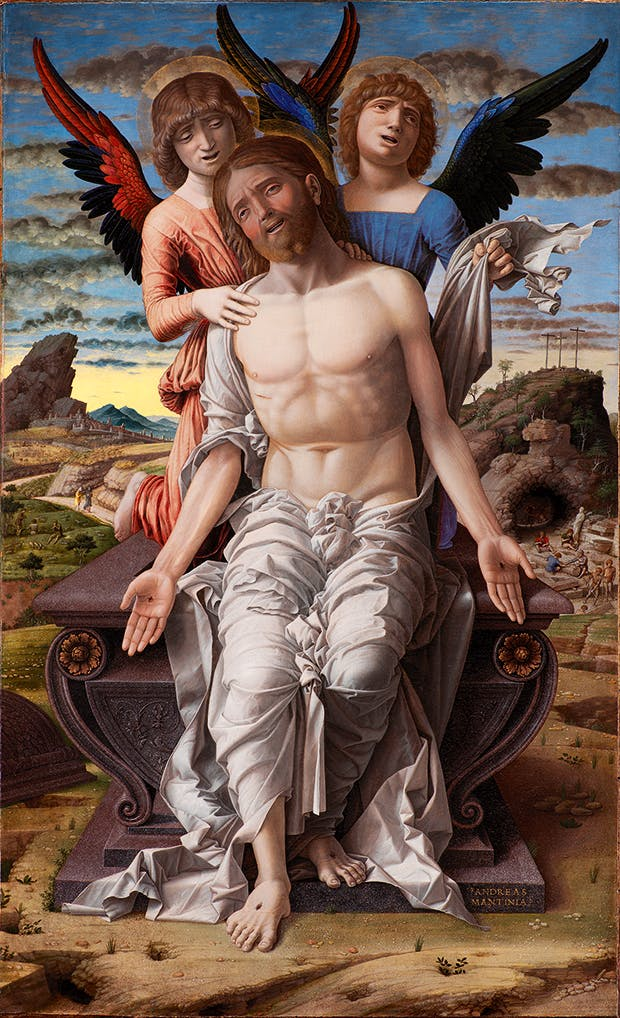 <em>The Dead Christ Supported by Two Angels</em>, c. 1485–1500, Andrea Mantegna (c. 1431–1506), tempera on panel, 78 × 48cm. Statens Museum for Kunst, Copenhagen