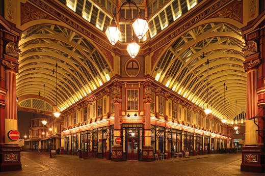 Leadenhall Market in the City of London, designed by Horace Jones (1819–87) and opened in 1881 (photo: 2011).