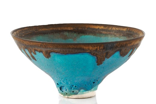 Bowl with dripped manganese rim, Lucie Rie. Mallams (estimate £2,000–£4,000)