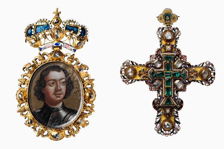 Decoration with portrait of Peter I (early 18th century), Kremlin workshops, Moscow; pectoral cross of Tsar Peter Alexeevich (1684), Kremlin workshops, Moscow