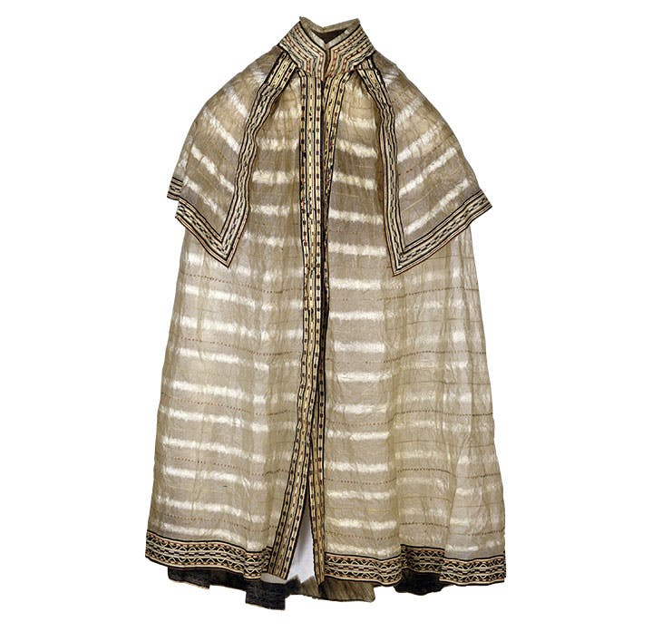 Jacket-cape (c. 1820), Aleutian Islands, Alaska. Peabody Essex Museum, Salem