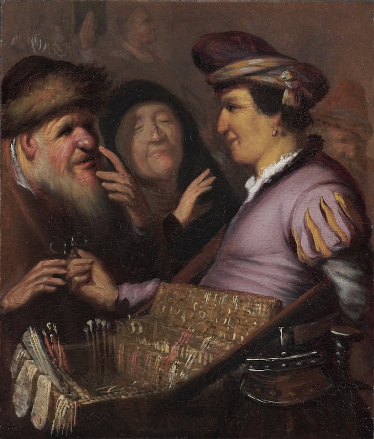 A Peddler Selling Spectacles (1624), Rembrandt van Rijn.