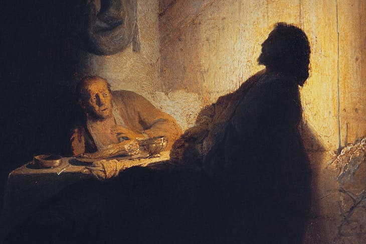 The Supper at Emmaus (detail; c. 1628), Rembrandt van Rijn.