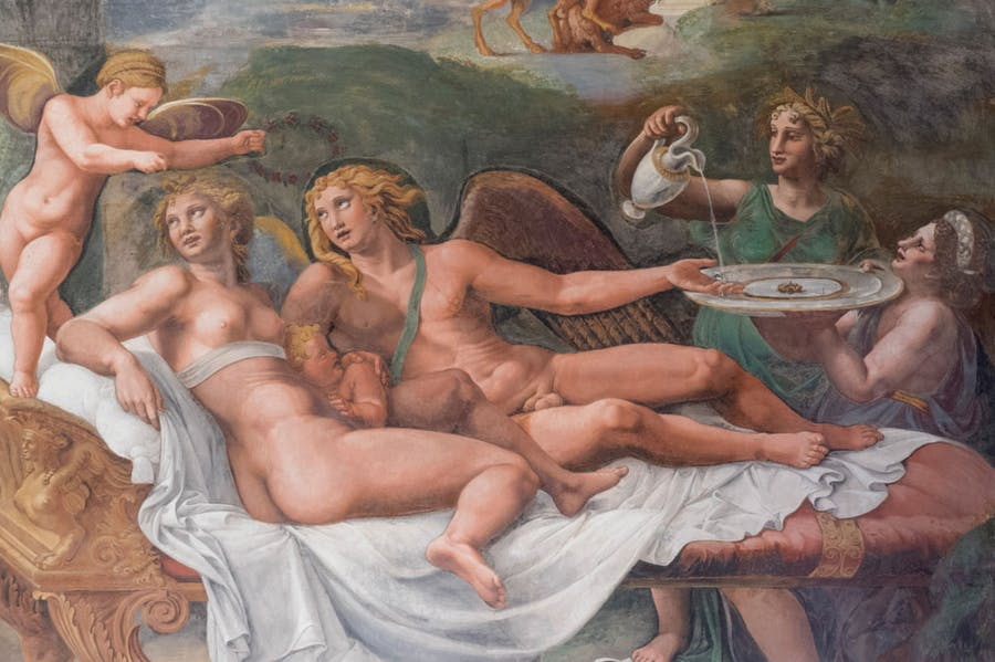 Detail of the south wall of the Sala di Psiche, Palazzo Te, Mantua, Giulio Romano and workshop.
