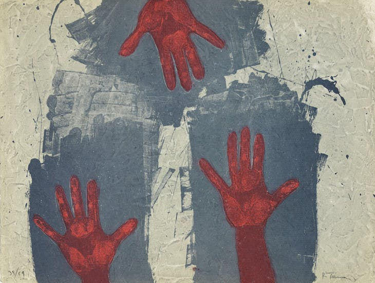 Hands on Blue Background (1979), Rufino Tamayo.