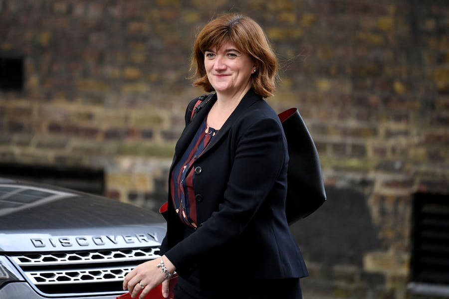 UK culture secretary Nicky Morgan arrives at Downing Street on 16 October 2019.