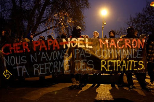 Protestors in Paris on 5 December 2019.