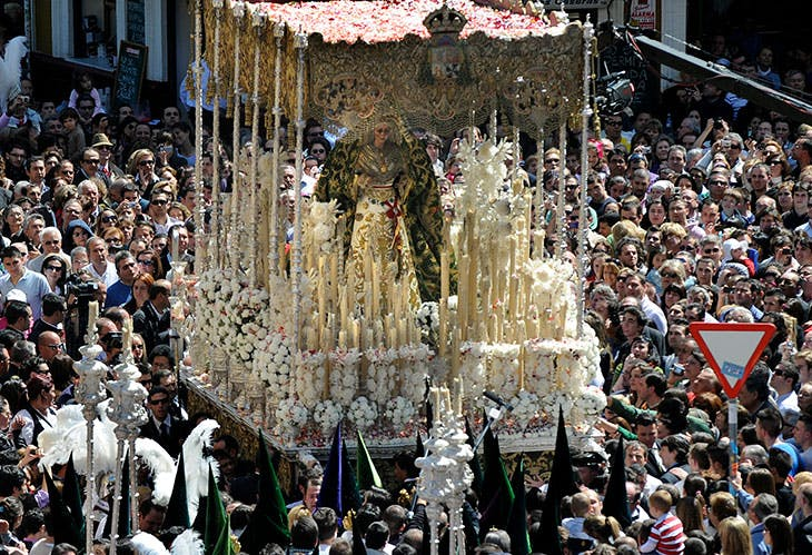 La Macarena takes part in a Holy Week procession in Seville. in April 2010.