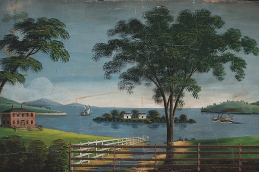 Francis Howe House Mural (detail; 1838), Rufus Porter and Stephen Twombly Porter.