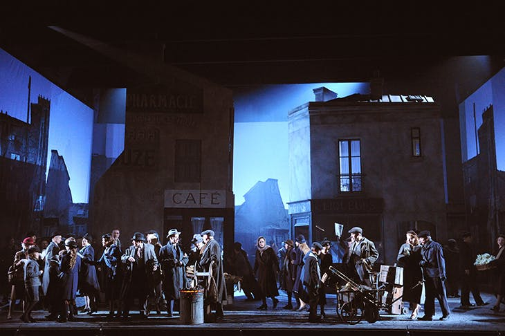A scene from Jonathan Miller's La Bohème for the ENO in 2009, with a set design by Isabella Bywater.