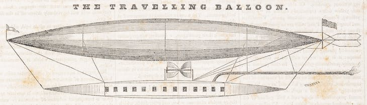 'The Traveling Balloon', illustration in Scientific American (1845), Rufus Porter.