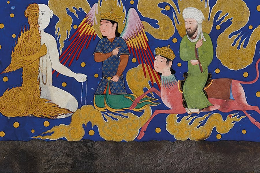 'The Prophet Muhammad encounters the angel of half-fire and half-snow', miniature from a copy of al-Sarai's Nahj al-Faradis (c. 1465), Herat.