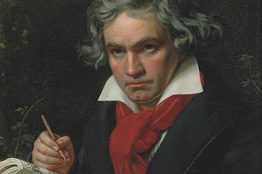 Beethoven with the manuscript for Missa Solemnis (detail; 1820), Joseph Karl Stieler.