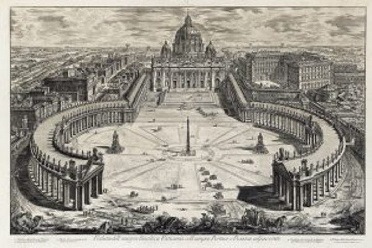 View of the piazza and the Basilica of San Pietro in the Vatican City (from Vedute di Roma; 1773–78), Giovanni Battista Piranesi.