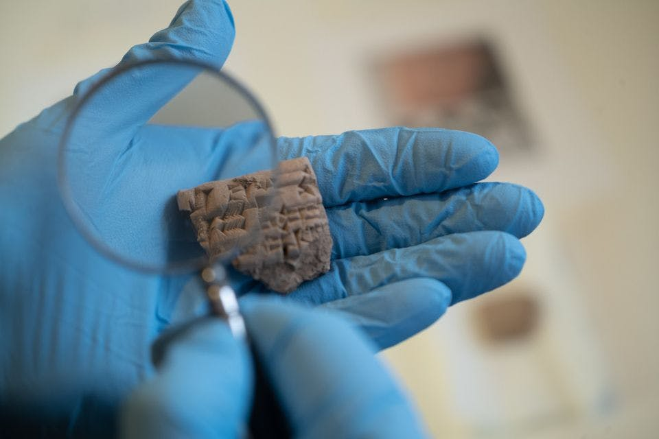 Clay tablet from Iraq, from between 2100 to 2000BC. Photo: Kyle Cassidy