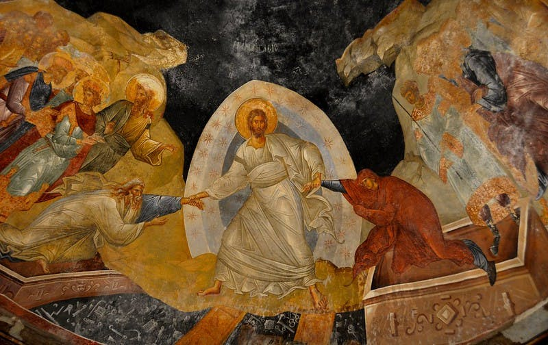 Fresco of the Anastasis in the apse of the parecclesion of the church.