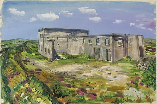 Derelict china clay works, Belowda Beacon, Roche (c. 1940), Ruskin Spear. From the 'Recording Britain' collection of topographical watercolours and drawings made during the Second World War, a project initiated by Kenneth Clark.