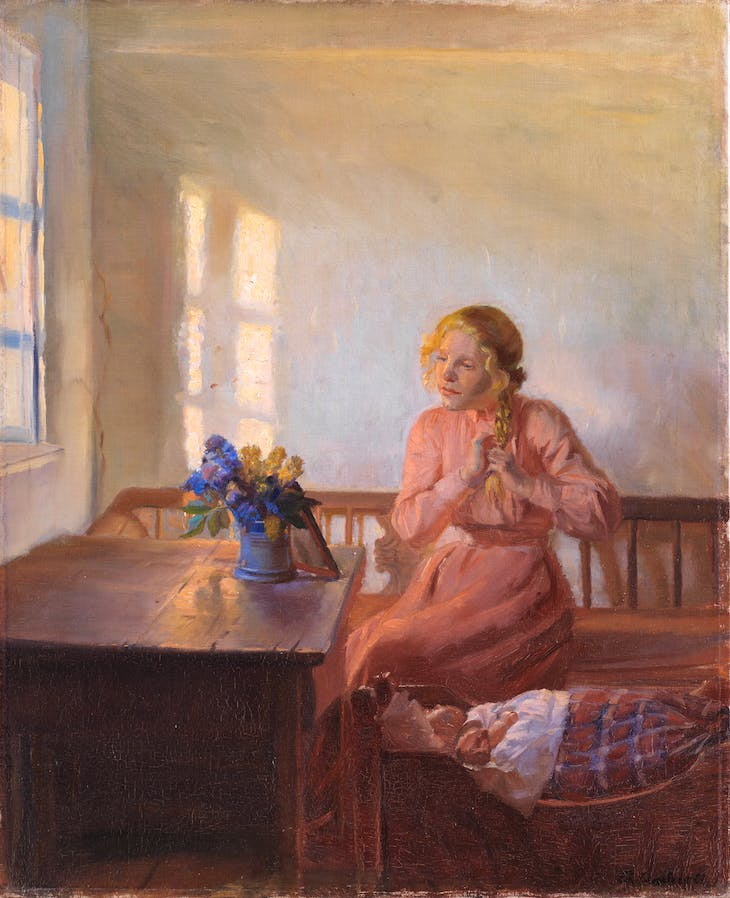 A Young Girl Plaiting Her Hair (1901), Anna Ancher.