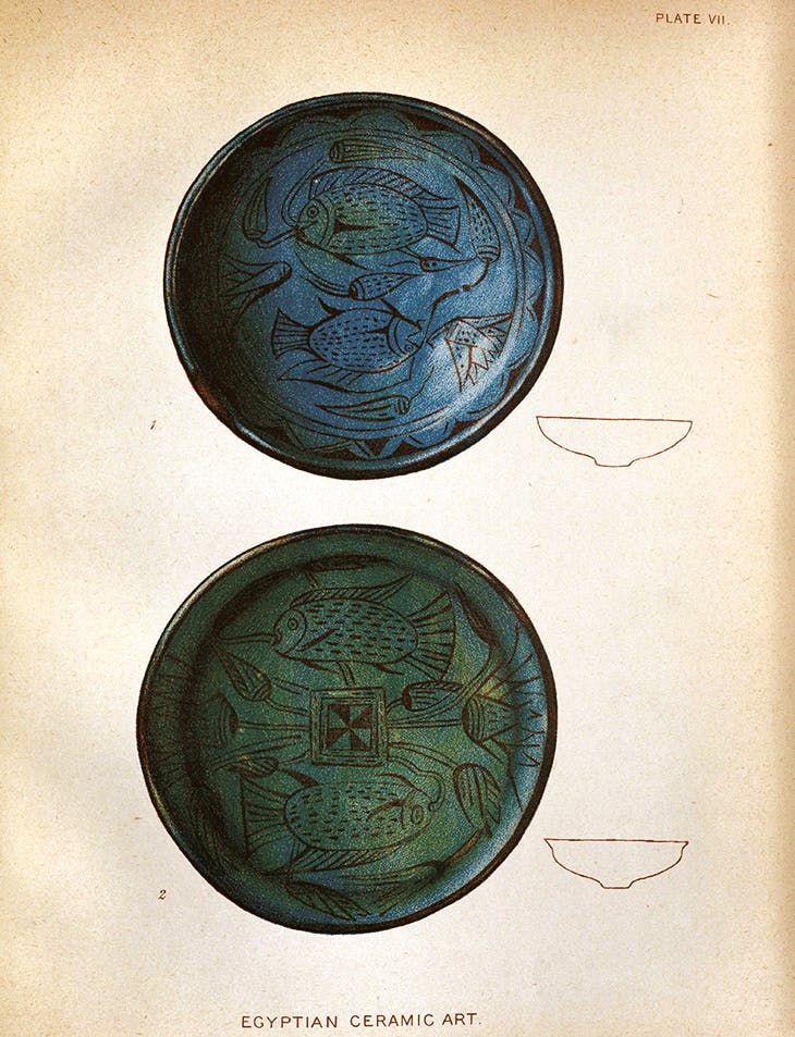 Illustration of Egyptian faience bowls by Henry Wallis, published in 'Egyptian Ceramic Art: The MacGregor Collection' (1898). Brooklyn Museum Libraries – Wilbour Library of Egyptology, New York