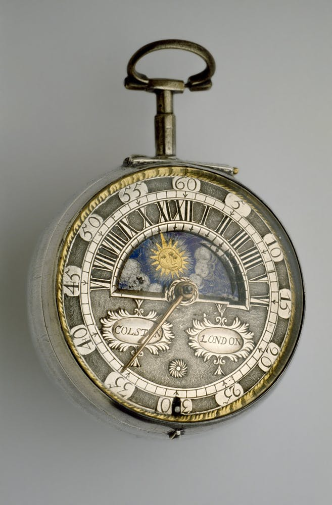 Silver pair-cased verge watch with sun-and-moon dial (c.1685–90), Richard Colston.