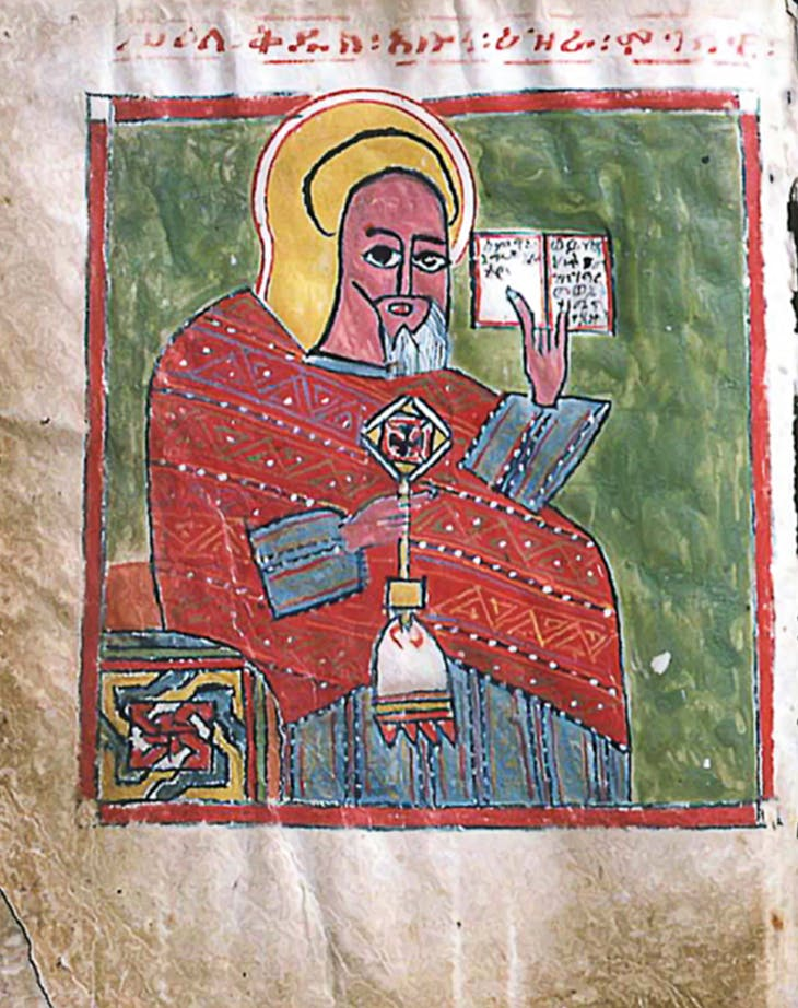 Saint Ezra holding a hand cross and an open book, late 15th or early 16th century, unknown artist. Gunda Gunde monastery, Tigray. Photo: Michael Gervers