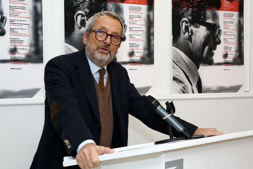 Roberto Cicutto at the Pier Paolo Pasolini MoMA film retrospective opening at MoMA PS1, New York, in 2012.